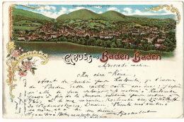 Gruss Aus  Baden Baden  Litho  Used 1897 To Ormoy Brienon Yonne - Baden-Baden
