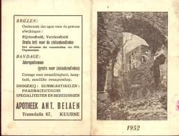 Kalender Calendrier - 1952 - Publicité Reclame Apotheek Belaen Kuurne - Calendriers