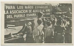 """Guerra Civil Playa De Sitges Escuela """" Pueblo De Cuba """" Auxilio Al Nino Del Pueblo Espanol Habana Bandera Cubana - Barcelona"""