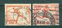 Deutsches Reich Mi. 612 + 613 Gest. Olympische Spiele 1936 Berlin Speerwerfer Fackellauf - Germania