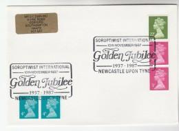1987 Newcastle GB Stamps COVER EVENT Pmk SOROPTIMIST INTERNATIONAL GOLDEN JUBILEE - 1952-.... (Elizabeth II)