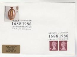 1988 GB Stamps COVER EVENT Pmk LLOYDS OF LONDON TERCENTENARY - 1952-.... (Elizabeth II)