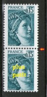 Variété Sabine N°1966**_1 Plus PETIT Tenant Normal_voir Scan - Varieteiten: 1970-79 Postfris