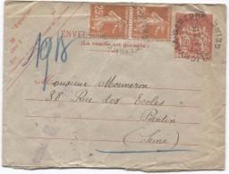 France Enveloppe Pneumatique+TP C.Clichy La Garenne 21/2/1938 V.Pantin Verso Divers Cachets PR3031