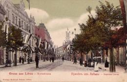 RUSSIA : GRUSS Aus LIBAU / LIEPAJA - LATVIA : KORNSTRASSE - ANNÉE / YEAR ~ 1900 - RARE !!! (u-090) - Lettonie