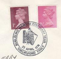 1974 Chelmsford GB Stamps COVER Illus EVENT Pmk GUGLIELMO MARCONI CENTENARY YEAR Telecom Radio - Telecom