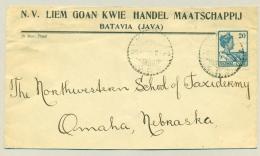 Nederlands Indië - 1925 - 20 Cent Wilhelmina Met Scheepje Op Zakenbrief Naar Omaha Nebraska / USA - Nederlands-Indië