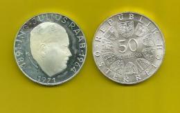 Republik Österreich  1971 ,  ING Julius Raab - 50 Schilling - Silber / Silver / Argent - Oesterreich