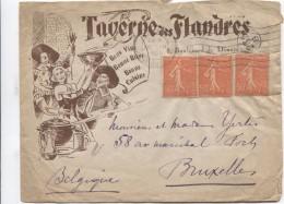 TP Semeuse S/L.à En-tête Taverne Des Flandres Bons Vins,bonne Bière&cuisine C.Paris En 1929 V.Bruxelles PR3040 - Biere