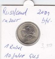 Russland 2001 - 1 Rubel - Unc. - 10 Jahre GUS - Russie