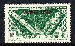 French Polynesia MH Scott #133 FRANCE LIBRE Overprint Black On 10fr Idols - Océanie (Établissement De L') (1892-1958)
