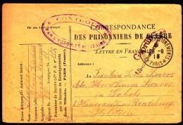 France Paris 1918 To Germany / WWI / CENSORSHIP - ZENSUR / Prisoner Of War, POW Mail - Frankreich