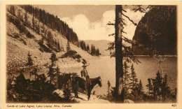 Sepia Illustrated Postcard    Guide At Lake Agnes, Lake Louise, Alta  #457   Unused - 1903-1954 Kings