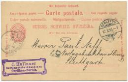 1296 - OERLIKON 12.X.99 Auf Frageteil-Ganzsachen-Postkarte Nach Stuttgart (DE)