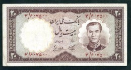 Banconote PERSIA PERSE PERSIEN PERSAN IRAN 1958 MOHAMMAD REZA SHAH 20 RI USED - Irán