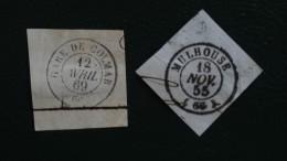 1855 Et 1869 2 Belles Oblitérations Détachées Mulhouse 18 Nov. 55 Et Gare De Colmar 12 Avril 69 - Andere