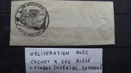 """18..? Belle Oblitération La Justice Et """"de 100.f.et Au Dessus.."""" Et Cachet à Sec """"aigle"""" Et """"timbre Impérial-extraord"""" - Andere"""