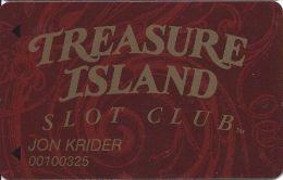 Treasure Island Casino Las Vegas, NV - Slot Card - 11mm Mag Stripe - Casino Cards