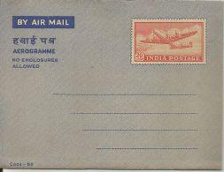 India, 20np Postal Stationery, Mint, Aerrogramme, Inde, Indien, Airplane - Aerogramas