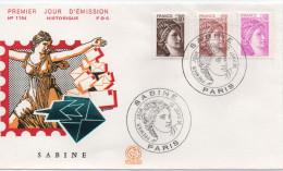 FDC 1981enlevement Des Sabines Par David   PARIS  01 SEPTEMBRE 1981 - Sabine - Y-T 2118 à 2120 - 1980-1989