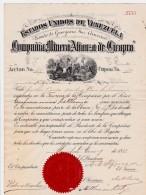 VENEZUELA - ESTADOS UNIDOS DE VENEZUELA - COMPANIA MINERA ALIANZA DE CIRAPRA - ACCION N°69 - CUPON 32 -1881-87 - Mines
