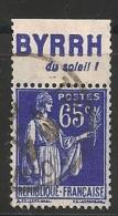 Timbre à Bande Publicitaire Type Paix 65c Bleu N° 365. Pub Publicité Réclame Carnet - Publicidad