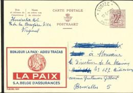 Publibel Obl. N° 1829 Assurances: LA PAIX; Colombe) Obl: Tubize 10/05/1962 - Entiers Postaux