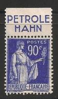 Timbre à Bande Publicitaire Type Paix 90c Bleu N° 368. Pub Publicité Réclame Carnet - Advertising