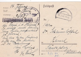 Feldpost WW2: 2. Kompanie Verkehrs-Regulierungs-Bataillon 757 FP 36871 P/m 20.2.1940 - Plain Postcard (G84-27) - Militaria