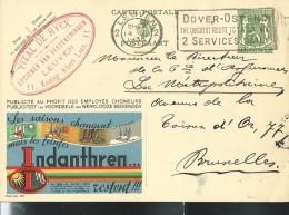 Publibel Obl. N° 209 ( INDANTHREN; Peinture Qui Résiste Aux Saisons) Obl: Leuven 1936 + Fl: Dover-Ostende - Publibels