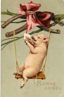 Carte Gaufrée - Cochon Sur Une Balançoire S'admirant Dans Un Miroir - Nouvel An