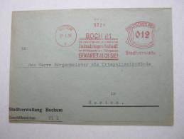 1936 , Bochum   , Freistempel  Auf   Brief - Deutschland