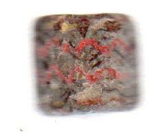 Une Perle De Collier En Argile Peint,motif Zizag Rouge.massif Des Alpes.Néolithique.long:2 Cm.circonférence:2,1 Cm - Archéologie