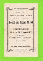 PROGRAMME RECITAL DES ORGUES MUSTEL - BESANCON 1924 - Programmes