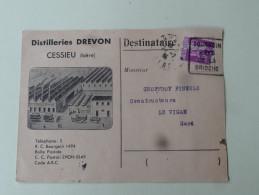 Type Paix Sur Enveloppe Cessieu Isere Distillerie Drevon Sur Carte VRP Afft 40c  Paix 1935 - Marcophilie (Lettres)