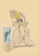 D22360 CARTE MAXIMUM CARD TRIPLE 1956 CZECHOSLOVAKIA - CYCLING BICYCLE CP ORIGINAL - Cycling
