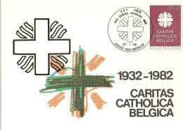 """BELG.1983 2078 FDC Maxicard : """" Caritas Catholica """" - 1981-90"""