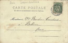 C P A  Affr. 5 C Blanc Oblit. PARIS / DEPART - BANLIEUE Du 30 DEC. 1906 ( Jour De L´An ) - Marcophilie (Lettres)