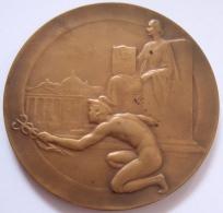 Médaille.   Eugène Resteau. Lois Reglementant Profession Agent De Change. 1934-1937. P. Theunis. Atel. Fisch. 70mm - Firma's