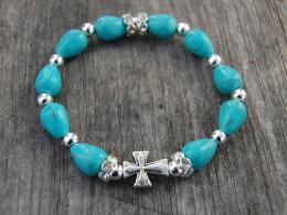 Turquoise Gemstone Rosary Bracelet,Silver Cross,Religious Bracelet, Catholic, Baptism,Graduation, Heartfelt,Stretch,Man, - Bracelets