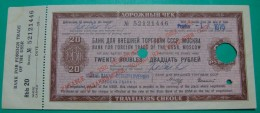 RUSSIA CCCP 20 RUBLES TRAVELLERS CHEQUE ND 1975, UNC. CANCELLED, RARE - Russia
