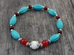 Turquoise Gemstone Beads Bracelet,Stretch Bracelet,Spirituality,Prayer,Good Luck Bracelet,Yoga,Protection,Man,Woman - Bracelets