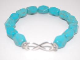 Infinity Turquoise Gemstone 6mm Beads Bracelet,Stretch Bracelet,Spirituality,Prayer,Good Luck,Yoga,Protection,Man,Woman - Bracelets