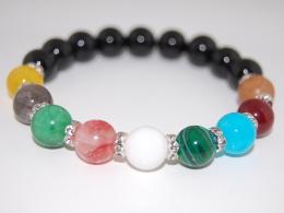Multi Color Gemstone 10mm Beads Bracelet,Stretch Bracelet,Spirituality,Prayer,Good Luck,Yoga,Protection,Man,Woman - Bracelets