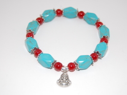 Buddha,Turquoise Gemstone Gemstone Beads Bracelet,Stretch Bracelet,Spirituality,Prayer,Yoga,Protection,Man,Woman,Lucky - Bracelets