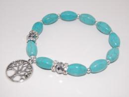 Tree Of Life,Turquoise Gemstone Gemstone Beads Bracelet,Stretch Bracelet,Spirituality,Prayer,Yoga,Protection,Man,Woman - Bracelets