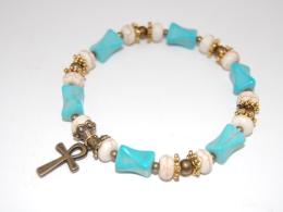 Ankh Cross,Turquoise Gemstone Gemstone Beads Bracelet,Stretch Bracelet,Spirituality,Prayer,Yoga,Protection,Man,Woman - Bracelets