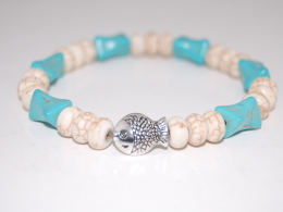 Silver Fish,Turquoise Gemstone Gemstone Beads Bracelet,Stretch Bracelet,Spirituality,Prayer,Yoga,Protection,Man,Woman - Bracciali