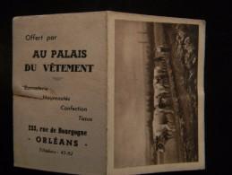 CALENDRIER DE POCHE PUBLICITAIRE AU PALAIS DU VETEMENT 1950 ORLEANS - Calendriers