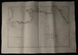 ( BRETAGNE Finistère ) Carte Marine DE LA POINTE DE PENMARC'H à La POINTE DE TREVIGNON ILES DES GLENANS 1891 - Nautical Charts